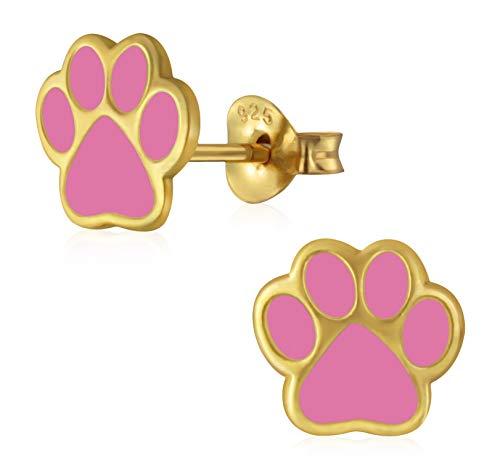 Laimons - Orecchini da bambina a forma di zampa di cane, placcati in oro rosa, 9 mm, in argento Sterling 925