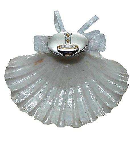 Concha de Bautismo de Vieira natural y motivo de Plata bilaminada y esmalte, Incluye estuche con adornos bautismales. Personalizable.