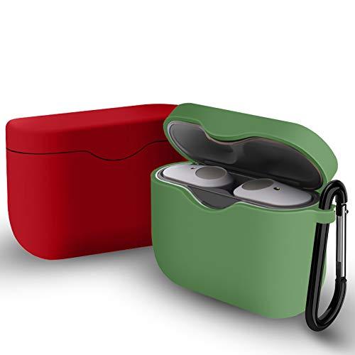 Yoowei [2-Pack] Funda Compatible con Sony WF-1000XM3 True Wireless Earphones, 2in1 Protectora de Silicona Funda + Gancho de Msetal, Rojo + Verde