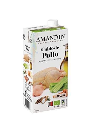AMANDIN Caldo de Pollo - Paquete de 6 x 1000 ml - Total: 6000 ml