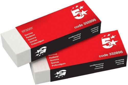 5 Star Büro-Plastikradierer in Papierhülle 60 x 21 x 21 mm 10er Pack
