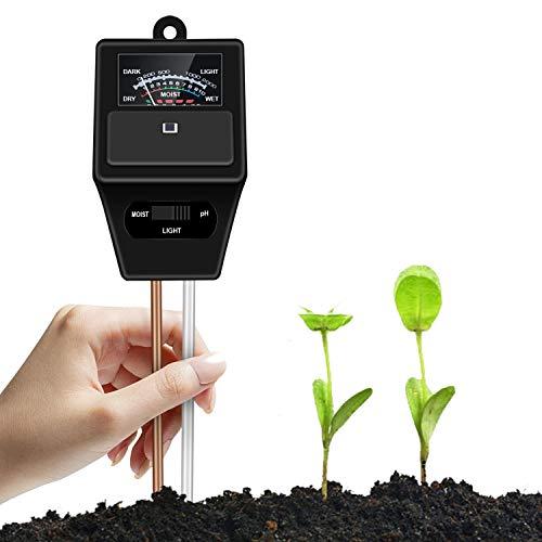 Buluri Bodentester, 3 in 1 Boden PH Messgerät mit pH, Feuchtigkeit & Sonnenlicht Test, Bodenmessgerät pH-Tester für In- /Outdoor Pflanzen, Garten, Bauerhof