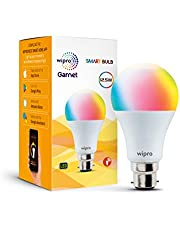 wipro WiFi Enabled Smart LED Bulb B22 12.5-Watt (16 Million Colors + Warm White/Neutral White/White) (Compatible with Amazon Alexa and Google Assistant) (NS1210)