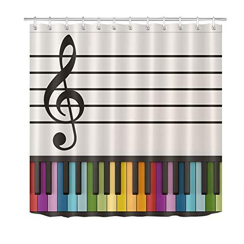 ZZZdz muziekdecoratie. Gekleurd toetsenbord. gordijn. Douchegordijn. Badkameraccessoires. 180 x 180 cm. 3D Hd-druk. Waterdicht. Verbleekt niet.
