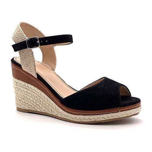 Angkorly - Chaussure Mode Sandale Espadrille lanière Cheville Plateforme Femme Corde tréssé lanière Talon compensé Plateforme 9 CM, Noir 2, 38 EU