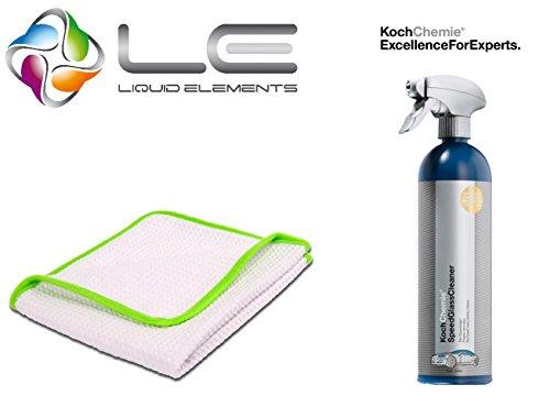 detailmate Koch Chemie Speed Glas Reiniger 750ml & Liquid Elements Streak Buster - Mikrofaser Scheibenreinigungstuch, 400 GSM, 35 x 35 cm, Glas Reinigungstuch, Scheiben Reinigungstuch