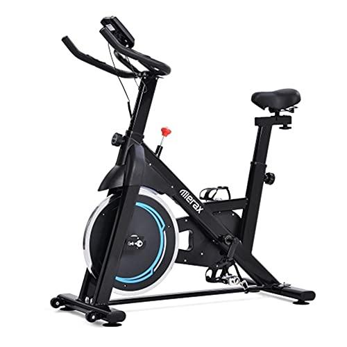 KirinSport Bicicleta de interior con volante de inercia de 8 kg, accionamiento por correa magnética, para gimnasia en casa, color negro y azul
