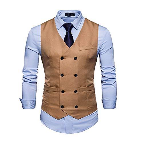 Herren Weste Hochzeit Anzug Business Nner Sakko Herrenweste Slim Festlich Top Fit Herrenmode V-Ausschnitt Vest Smart Anzugweste Feierlich Business (Color : Khaki, Size : M)