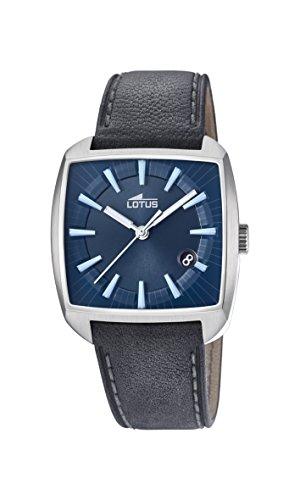 Lotus Watches Herren Datum klassisch Quarz Uhr mit Leder Armband 18519/3