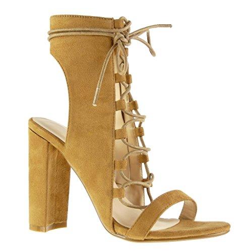 Angkorly - Damen Schuhe Sandalen Stiefeletten - Offen - Sexy - Spitze - Multi-Zaum Blockabsatz high...