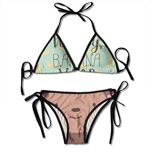 Funny Z Damen Bikini Set mit Verband AFFE und Zeichen mit Handgezeichneten Schriftzug Happy Banana Year Halfter Badeanzüge Zweiteiliger Badeanzug