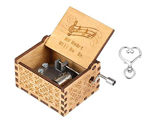 Cuzit, My Heart Will Go On, caja de música musical con el motivo de la película Titanic, estilo antiguo con manivela, madera tallada a mano