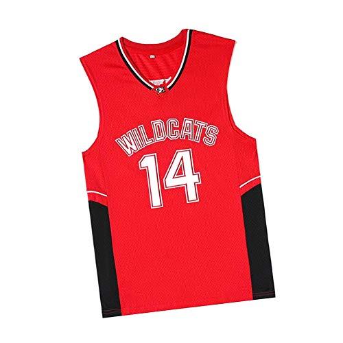 OKMJ #14 Bolton Wildcats Movie Version Herren Basketball Trikots Mesh Atmungsaktiv Unisex Ärmellos Stickerei T-Shirt Basketball Swingman Jersey Gr. L, farbe