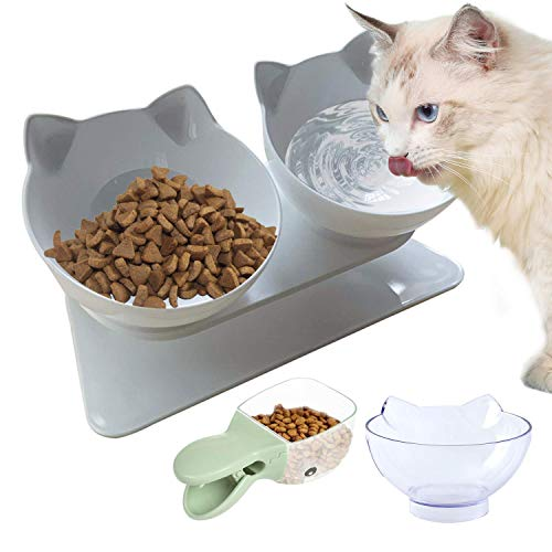 qazxsw 15deg;Tilted Platform Single Bowl Cat Feeder Cat Feeding Bowl Raised with Stan, Anti-skidAnti-Spill, Durable, Adjustable Pet Food Water Bowl for Cats and Dogs