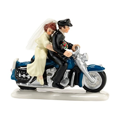 Bride and Groom Sitting on a Harley Together