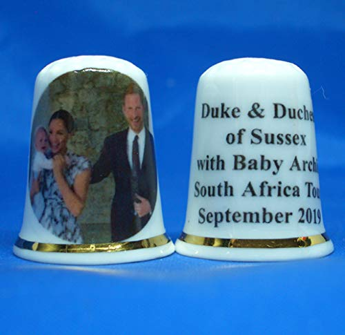 Birchcroft Porcelain China Thimble - Duke & Duchess of Sussex with Archie Box