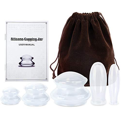 Nasjac Silikon-Schröpfen-Therapie-Set, 5er-Pack Vakuum-Absaug-Gesichts-Schröpfen, Anti-Cellulite-Massagetassen mit Pumpe, Schröpfen zur Reduzierung von Cellulite, Tassen für Muskel Gelenkschmerzen
