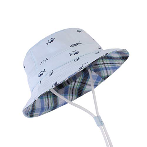 litty089 Baby Bucket Cap met kin riem, stijlvolle dubbelzijdige Cartoon Fish Print Hat, UV Protection Design, Geschikt voor uw mooie kinderen