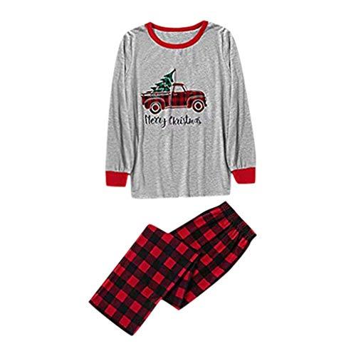 Alwayswin Weihnachten Schlafanzug Familien Pyjama Set Lang Nachthemd Nachtwäsche Hausanzug Outfits Herren Damen Kinder Sleepwear Set Langarm Tops T-Shirt + Hosen Familie Kleidung