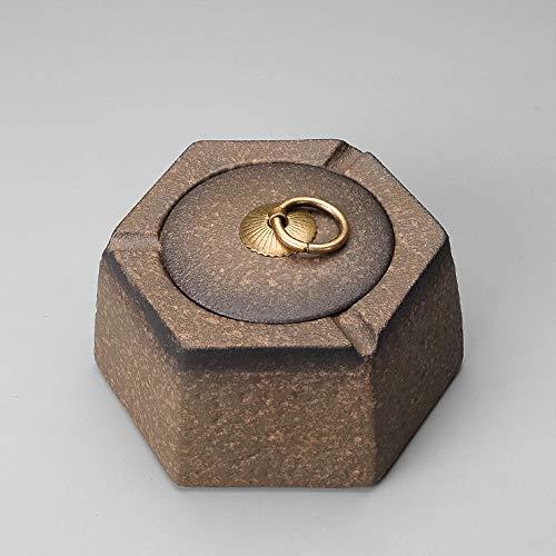 YUYUAN-001 Keramik Chinesische Retro Einfache Aschenbecher Mit Deckel Persönlichkeit Teetisch Aschenbecher Haushalt Merchandises Geschenk (Farbe : Braun)