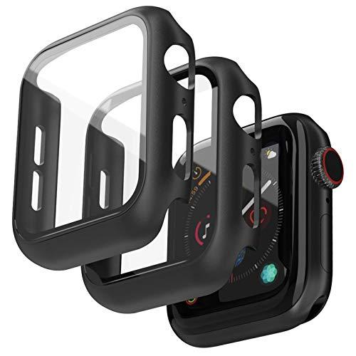 Jvchengxi 2PCS Pellicola Vetro Temperato Compatibile per Apple Watch 44mm Serie 6/5/4/SE Custodia, Nero HD Resistente Urti Custodia Rigida PC Pellicola Protettiva Schermo per iwatch Series 6/5/4/SE