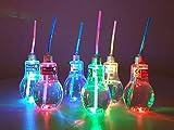 Ideal Trend 12x Kunststoff Trinkglas Party Zubehör 400 ml Glühlampe LED Gläser mit Trinkhalm