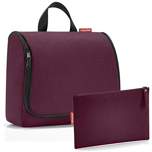 reisenthel Exklusiv-Set: toiletbag XL 28x25x10cm große Kulturtasche zum aufhängen aufklappbar + GRATIS ZUGABE case 1 (aubergine violett)