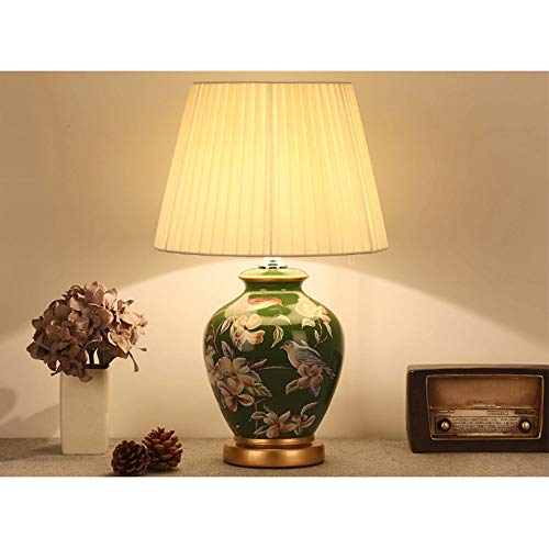 AZCX Amerikanische Landhaus-warme Tischlampe Keramik Leller Körpertuch Schlafzimmer Wohnzimmer-Tischlampe Beleuchtung und Einrichtungsgegenstände