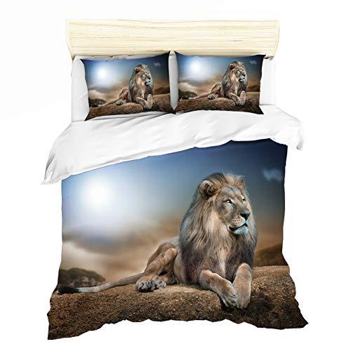 AYMAING Juego de Cama Lion King, Motivo Safari, Funda nórdica 220 X 240 cm, Funda de Almohada 80 X 80 cm, Microfibra