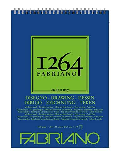 Fabriano Blocco 1264 Disegno A4 Gr.180/mq Fogli 50 Spiralato Lato Corto