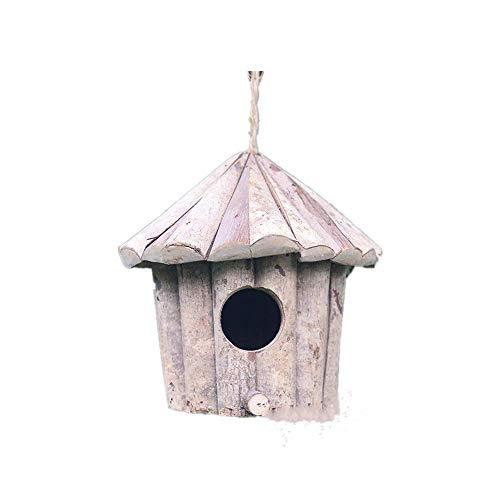 Handgemaakte houten milieuvriendelijke bescherming vogelhuisje wit hout ronde vogelhuisje kraag stevig hout antiseptisch vogelhuisje vogelnest