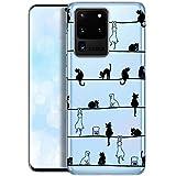 QULT Carcasa para Móvil Compatible con Funda Samsung Galaxy S20 Ultra Silicona Animales Transparente Suave Bumper Teléfono Caso para Samsung S20 con Dibujo Primavera de Gatos