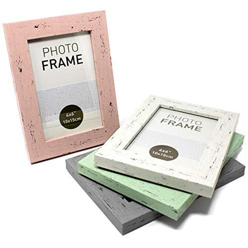 Selldorado® Juego de 4 marcos de fotos de 10 x 15 cm de madera en bonitos colores pastel blanco, gris, verde menta, rosa, marco de fotos con soporte, estilo Shabby Chic vintage