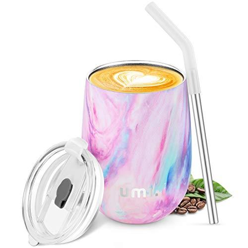 Umi. by Amazon -Termo Taza Cafe para Llevar 360ml, Botella Agua Acero Inoxidable, Botella Termica sin BPA, Vaso Termico de Viaje, Copa de Vino o Cafe con Tapa y Pajilla, Wine Tumbler, Iris