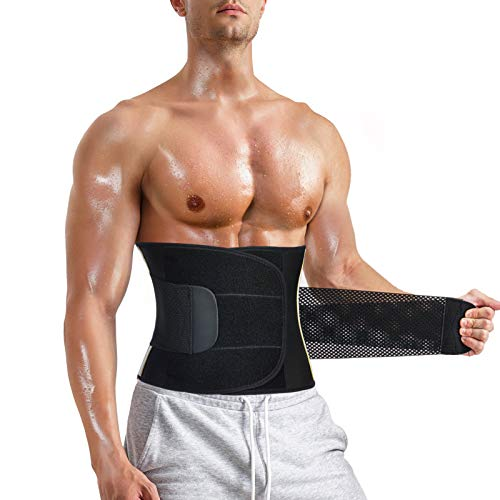 MOLUTAN Men Waist Trainer Trimmer for Weight Loss Tummy Control Shapewear Fat Burner Sweat Belt for Back Support Compression Shaper Band (Black, Large)