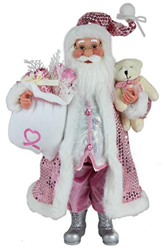 "16"" Inch Standing Think Pink Santa Claus Christmas Breast Cancer Awareness Figurine Figure Decoration 168450"