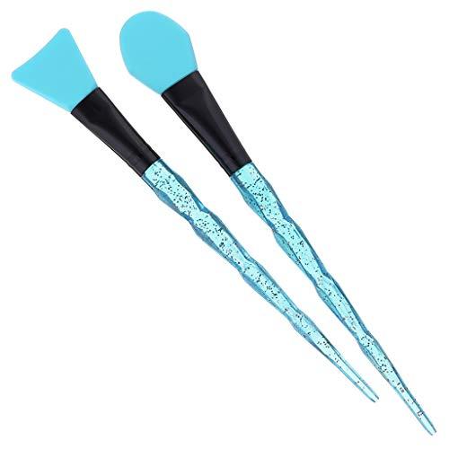 WOZOW Kit Maquillage Cosmétique Brosse Mélange Masque Facial Boue Visage Poignée Cristal Transparent(E)