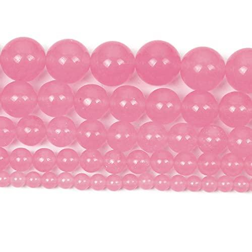 Perlas de piedra natural para la fabricación de joyas Lapislazuli Amatista Folletos Accesorios de pulsera redonda Hecho a mano 4-12mm-Calcedonia rosa_8mm alrededor de 48pcs
