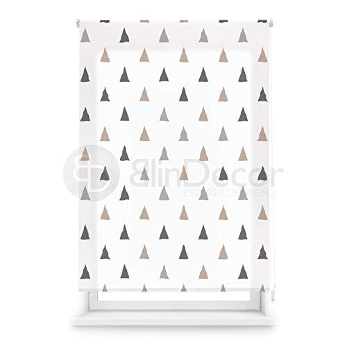 Blindecor Estor Enrollable translúcido Digital, Polyester, Blanco (Triángulos), 110 X 180 cm