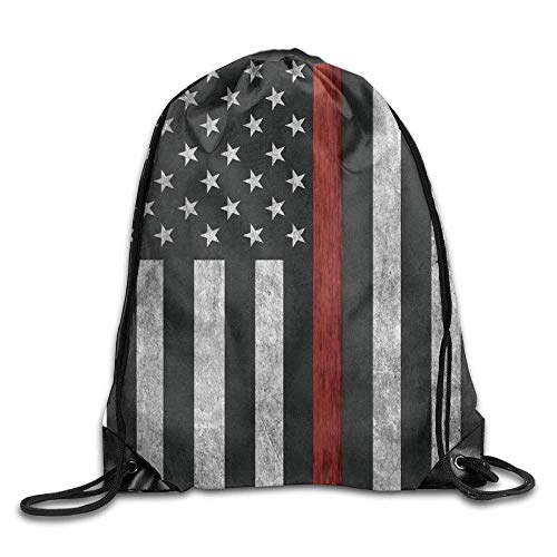 uykjuykj Tunnelzug Rucksäcke, Drawstring Backpack Kids Adults Waterproof Bag for Gym Traveling Thin Red Line Flag Lightweight Unique 17x14 IN