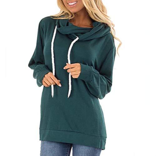 Lulupi Schalkragen Pullover Damen Lockerer Hoodie Drawstring, Wasserfallausschnitt Pulli Einfarbig Basic Kapuzenpullover Herbst Winter Sweatshirt mit Kapuze