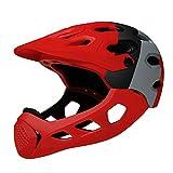 Uticon - Casco de bicicleta para adultos, de cara completa, para motocicleta, todoterreno, bicicleta de montaña, casco de seguridad, color negro + gris + rojo