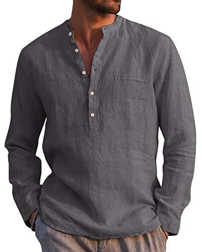 AUDATE Camisa de algodón de lino para hombre, para otoño e invierno, de manga larga, corte regular, para tiempo libre gris oscuro M
