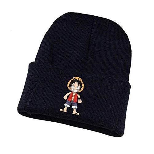 Anime Japón One Piece Hat Water Law Caps Gorros De Invierno De Punto Hombres Hombres Niños Niñas Sombrero Negro Elástico, 06, Talla Única