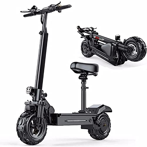 JLKDF Scooter eléctrico, Scooter Todoterreno Plegable con Asiento, Motor sin escobillas de 500 w, luz LED, Pantalla LCD, Alcance máximo de 150 kilómetros, Apto para Adultos/jóvenes