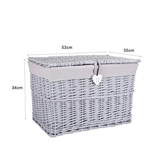 green leaves trunk nursery wicker basket, GREY, Medium Storage Box: Length 53 x Width 35 x Height 34 cms approx