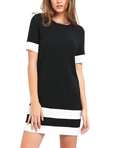 Vestidos Verano Mujer Casual Camisetas Vestido Corto Rayas Ropa Fiesta Moda Cuello Redondo Manga Corta Elegante Fiesta T Shirt Slim Fit Dresses For Women Negro+Blanco