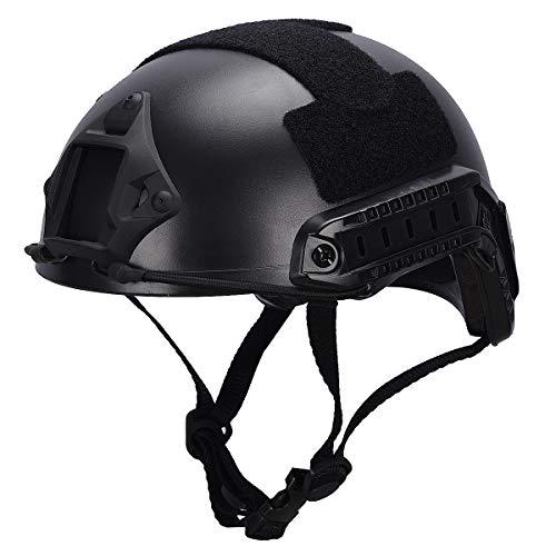LOOGU Airsoft Helm, Fast MH Type Bump Taktische Kampfschutzausrüstung für Outdoor-Aktivitäten mit 12-in-1 Gesichtsmaske – Schwarz