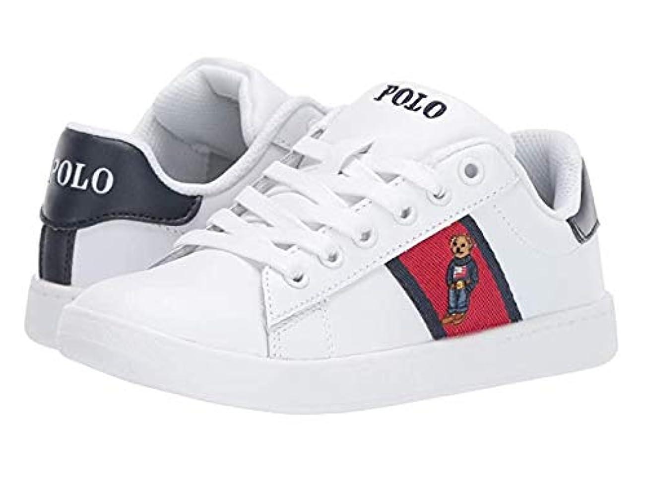 大聖堂勝つ予感[ポロラルフローレン] キッズカジュアルシューズ?靴 Quilton Bear (Little Kid) White Leather/Red/Navy Striping and Americana Boy Bear 21.5cm M [並行輸入品]