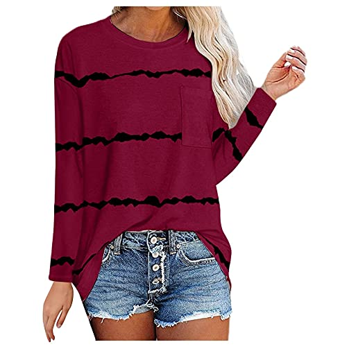 Nuevo 2021 Camiseta Manga Larga de mujer, otoño Casual Raya Impresión Blusa Elegante camisa con bolsillo Cuello redondo basic Cómodo Camiseta Largo Suelto Tops fiesta primavera T-Shirt original